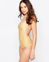 Melissa Odabash Metallic Swimsuit With Tie Up Back