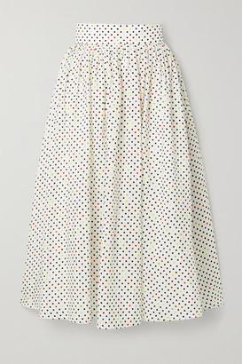 Christopher Kane Polka-dot Cotton And Silk-blend Jacquard Midi Skirt - White