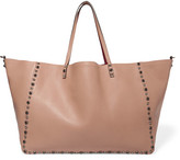 Valentino The Rockstud Reversible Embellished Textured-leather Tote - Blush