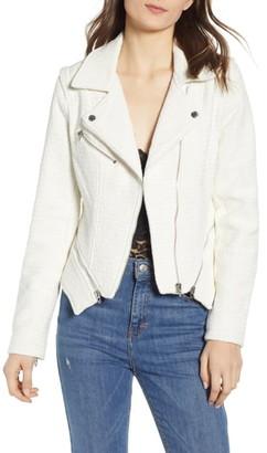 Blank NYC Tweed Fitted Zipper Moto Jacket