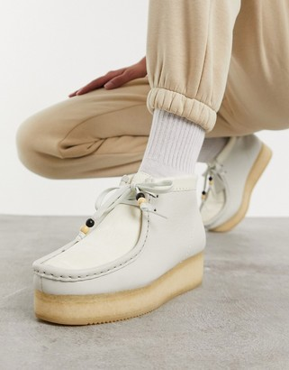 Clarks Wallabee low wedge ankle boots in white