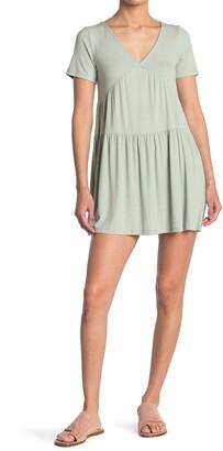 Elodie K Short Sleeve Ribbed Babydoll Dress