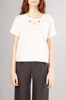 Des Petits Hauts Ecru Kanoumi Embroidered T Shirt - XSMALL