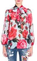 Dolce & Gabbana Silk Chiffon Rose Print Blouse