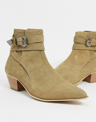 ASOS DESIGN cuban heel western chelsea boots in embossed stone suede with strap detail