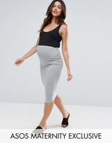 Asos Petite Over The Bump Midi Pencil Skirt In Jersey