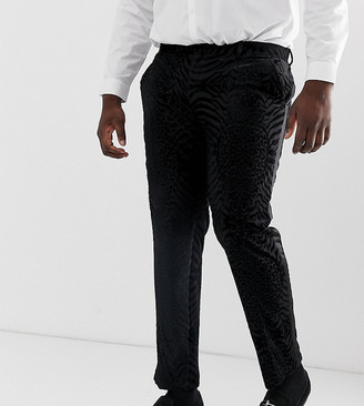 ASOS DESIGN Plus skinny tuxedo suit trousers in black tiger glitter velvet
