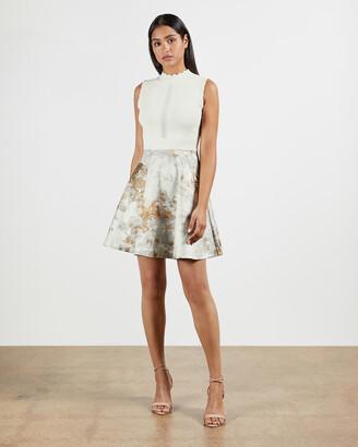 Ted Baker OLIIVEE Vanilla Jacquard Skirted Dress