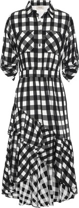 Temperley London Stirling Asymmetric Checked Jacquard Dress