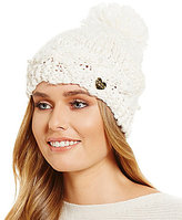 Betsey Johnson Pearly Girl Beanie with Pom Detail