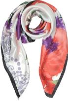 Mila Schon Floral Print Twill Silk Square Scarf