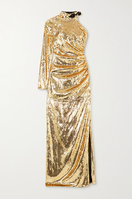 Dundas One-sleeve Bead-embellished Sequinned Organza Gown - Gold