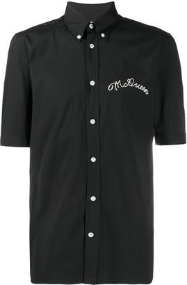 Alexander McQueen Short Sleeve Embroidered Logo Shirt