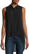 philosophy Layered-Front High-Low Sleeveless Blouse, Black