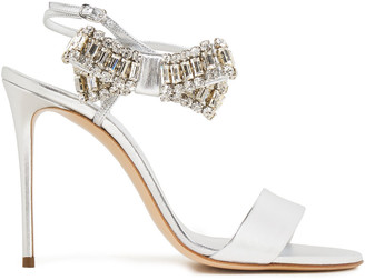 Casadei Bow-embellished Metallic Leather Sandals