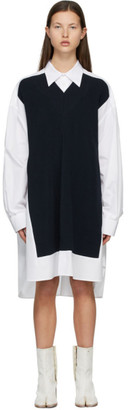 Maison Margiela White and Navy Spliced Knit Shirt Dress