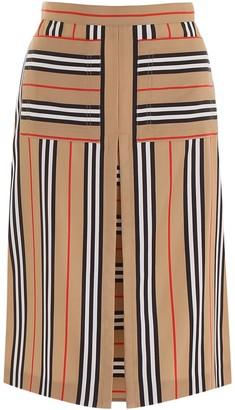Burberry A-Line Icon Stripe Print Skirt