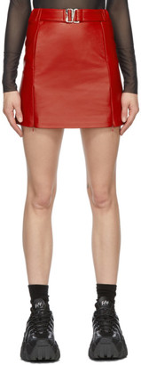Misbhv Red Faux-Leather Miniskirt