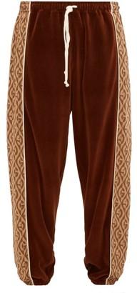 Gucci G-jacquard Velour Track Pants - Mens - Brown Multi