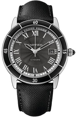 Cartier Ronde Croisiere de Stainless Steel & Black Leather-Strap Watch with Grey Dial