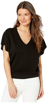 Lilla P Dolman Sleeve V-Neck French Terry Top (Black) Women's Clothing