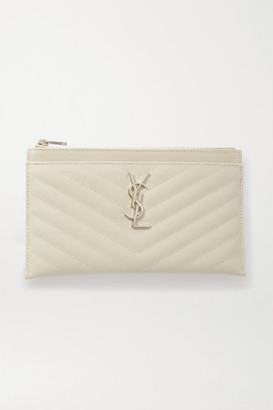 Saint Laurent Monogramme Quilted Textured-leather Pouch - Off-white