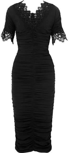 Dolce & Gabbana Crocheted Lace-trimmed Ruched Silk-blend Georgette Dress - Black