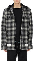 Off-White Men's Frayed Plaid Cotton Hoodie Shirt