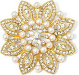 MONET JEWELRY Monet Gold-Tone Crystal and Simulated Pearl Snowflake Pin