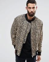 Religion Leopard Print Jersey Bomber Jacket