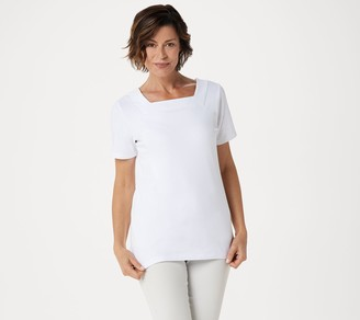 Denim & Co. Essentials Square-Neck Top with Short Sleeve