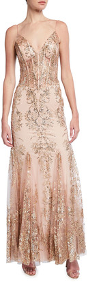 Jovani Spaghetti-Strap Sequin Embellished Corset Gown