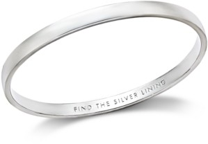"Kate Spade Silver-Tone ""Find The Silver Lining"" Message Bangle Bracelet"