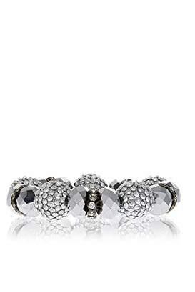 Kenneth Jay Lane Crystals Silver Elastic Bracelet