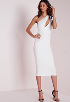 Missguided One Shoulder Split Midi Dress White