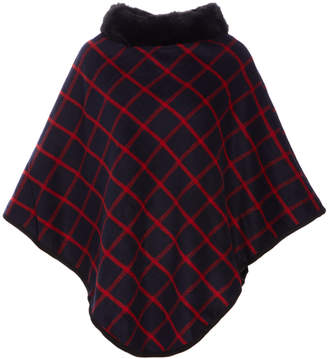 Lvs Collections LVS Collections Women's Ponchos NAVY/RED - Navy & Red Windowpane Faux-Fur Collar Poncho - Women