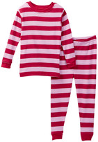 Leveret Maroon Pink Striped Pajama Set (Toddler, Little Girls, & Big Girls)