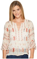 Lucky Brand Mix Print Boho Top Women's Long Sleeve Pullover