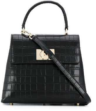 Furla Crocodile Embossed Tote Bag