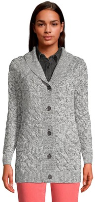 Lands' End Women's Cable-Knit Shawl Cardigan Sweater