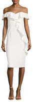 Jay Godfrey Off The Shoulder Cascade Drape Sheath Dress