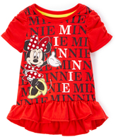Children's Apparel Network Red Minnie Mouse Ruffle Pullover - Toddler