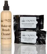 Crown Brush 2 Pack Professional Makeup Wipes & Pro Brush Cleaner (8 oz.)