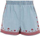 River Island Girls Blue embroidered denim shorts