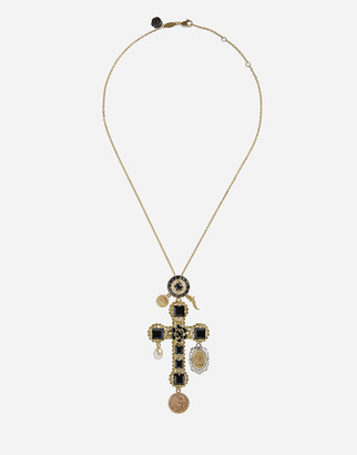 Dolce & Gabbana Necklace With Sapphire Cross Charm