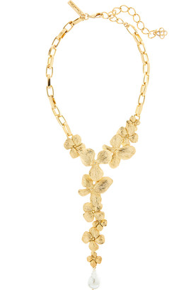 Oscar de la Renta Flower and Pearly Chain Necklace