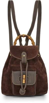 Gucci Brown Suede & Leather Bamboo Backpack Mini