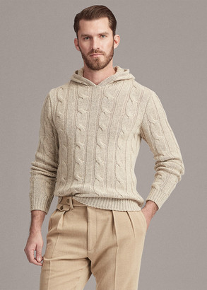 Ralph Lauren Cable-Knit Cashmere Hooded Sweater