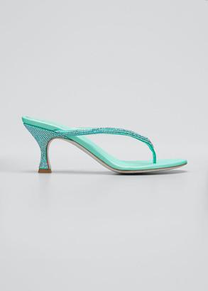 Rene Caovilla 65mm Studded Satin Thong Sandals