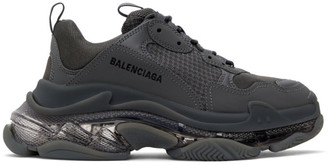 Balenciaga Grey Clear Sole Triple S Sneakers